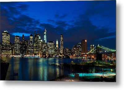 Ny Skyline From Brooklyn Heights Promenade Metal Print by Mitchell R Grosky