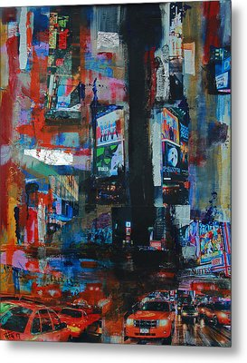 Ny Times Square Night 2 Metal Print