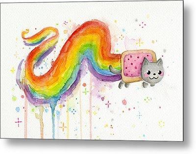 Nyan Cat Watercolor Metal Print by Olga Shvartsur