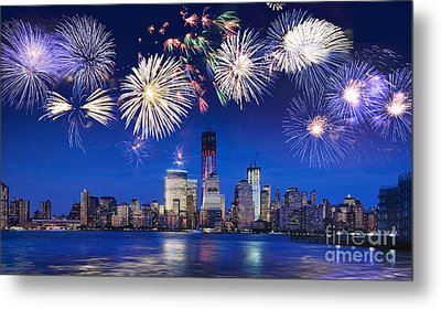 Nyc Fireworks Metal Print by Delphimages Photo Creations