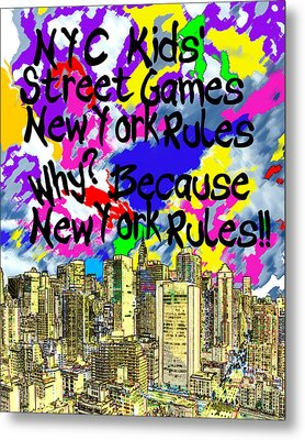 Nyc Kids' Street Games Poster Metal Print by Bruce Iorio