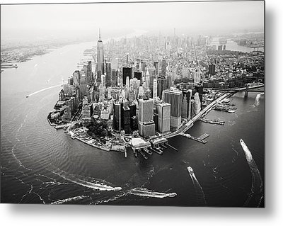 Nyc Manhattan Aerial Metal Print by Nina Papiorek