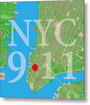 Nyc Map Twin Towers 9/11 Metal Print by Big City Artwork