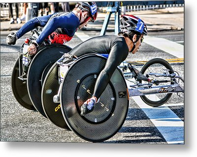 Nyc Marathon Wheelchair Racers Metal Print by Terry Cork