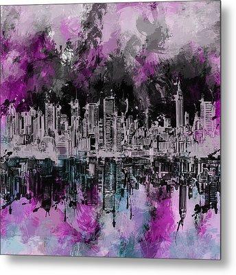 Nyc Skyline Brush Strokes Metal Print by Bekim Art