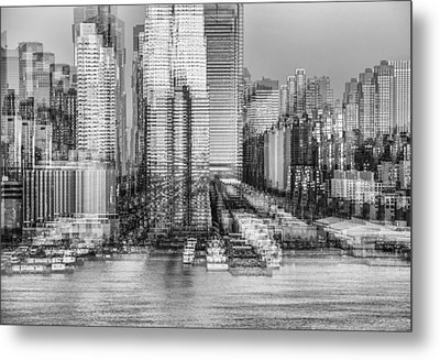 Nyc Skyline Shapes Bw Metal Print by Susan Candelario