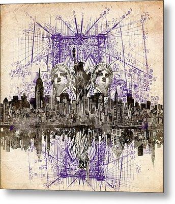 Nyc Tribute Skyline 5 Metal Print by Bekim Art