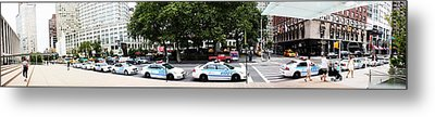 Nypd Cop Cars In Front Of Lincoln Center Metal Print by Nishanth Gopinathan