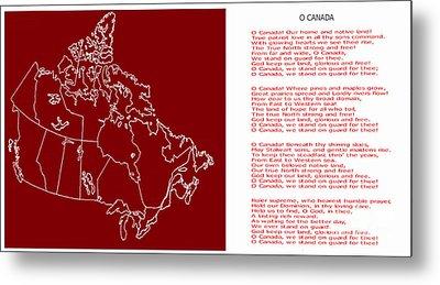 O Canada Lyrics And Map Metal Print by Barbara Griffin