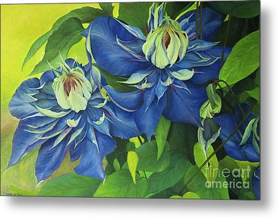 Metal Print featuring the painting O Clematis by Jeanette French