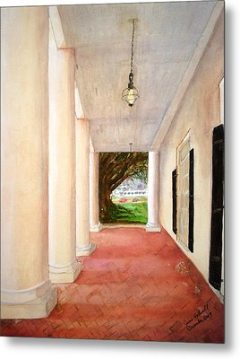 Oak Alley - Veranda View Of The Delta Queen Metal Print
