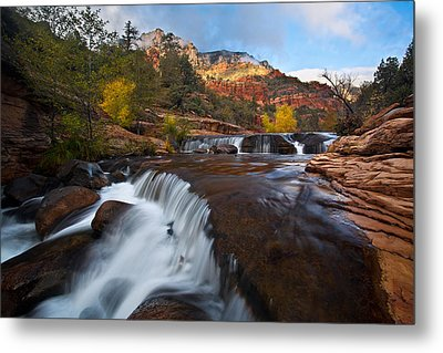 Oak Creek Cascades Metal Print by Guy Schmickle