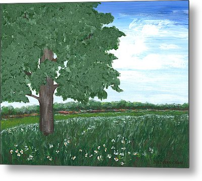 Metal Print featuring the painting Oak Tree In Summer Meadow by Penny Hunt