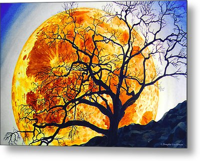 Oak Tree Moonrise Metal Print