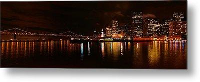Oakland Bay Bridge At Night Metal Print