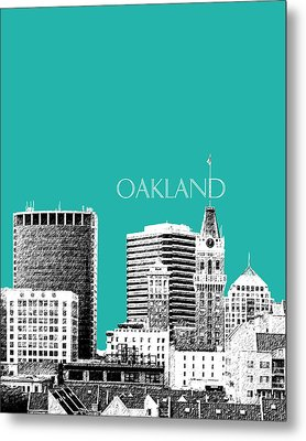 Oakland Skyline 1 - Teal Metal Print
