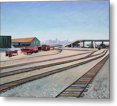 Metal Print featuring the painting Oakland Train Tracks And San Francisco Skyline by Asha Carolyn Young