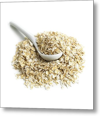 Oats And A Spoon Metal Print by Science Photo Library