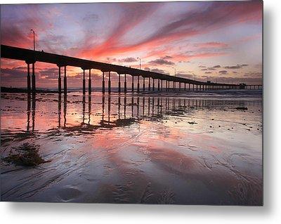 Ob Pier Reflection Sunset Metal Print