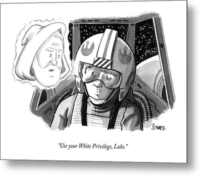 Obi Wan Kenobi Talks To Luke Skywalker Metal Print by Benjamin Schwartz
