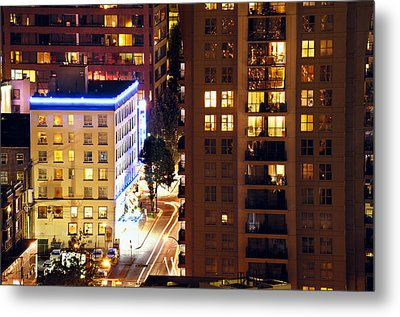 Metal Print featuring the photograph Observation - Man In Window Dclxxxi by Amyn Nasser