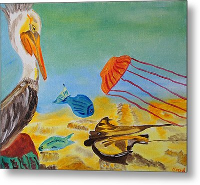 Metal Print featuring the painting Observing Options by Meryl Goudey