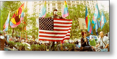 Occupy Wall Street Protester Holding Metal Print by Panoramic Images