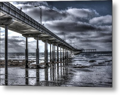 Metal Print featuring the digital art Ocean Beach Pier by Photographic Art by Russel Ray Photos