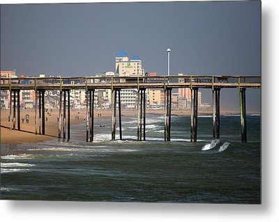 Metal Print featuring the photograph Ocean City Fishing Pier In January by Bill Swartwout