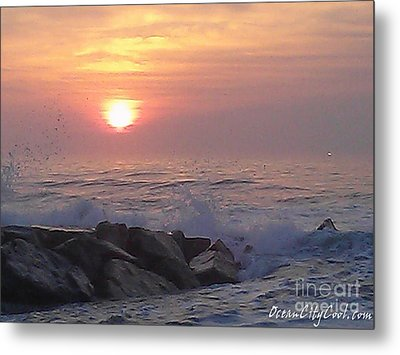 Metal Print featuring the photograph Ocean City Inlet Jetty At Sunrise by Robert Banach