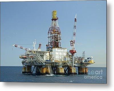 Ocean Confidence Drilling Platform Metal Print by Bradford Martin