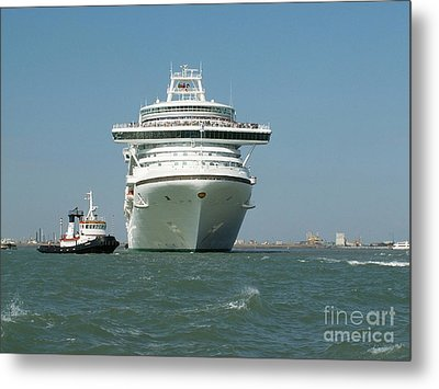Ocean Liner And Boat Metal Print by Evgeny Pisarev