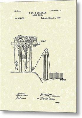 Ocean Motor 1889 Patent Art Metal Print