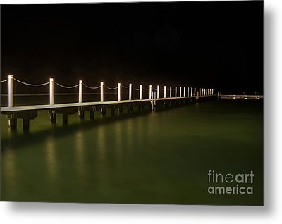 Ocean Pool By Night 2 Metal Print by Kaye Menner