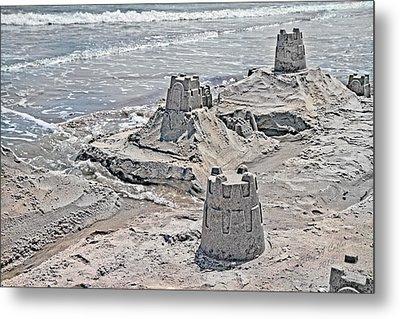 Ocean Sandcastles Metal Print by Betsy Knapp