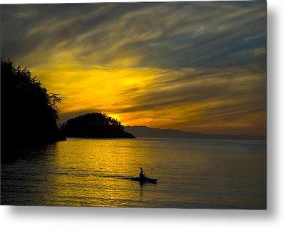 Ocean Sunset At Rosario Strait Metal Print