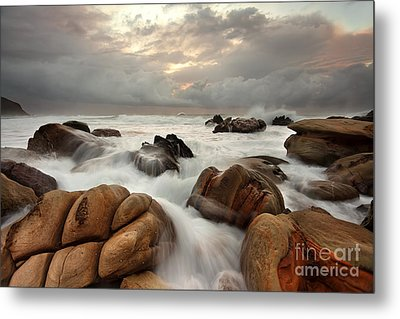 Ocean Surges Over Weathered Rocks Metal Print by Leah-Anne Thompson