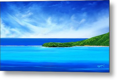 Metal Print featuring the digital art Ocean Tropical Island by Anthony Fishburne