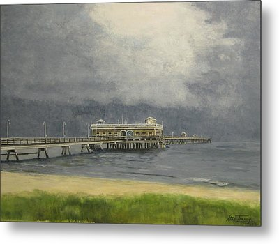 Metal Print featuring the painting Ocean View Pier by Stan Tenney