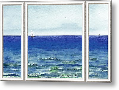 Ocean View Window Metal Print by Irina Sztukowski