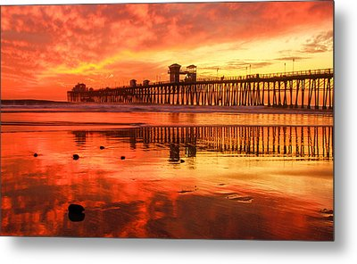 Metal Print featuring the photograph Oceanside Fire by Robert  Aycock
