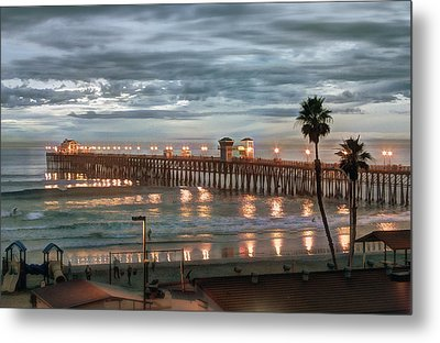 Oceanside Pier At Dusk Metal Print by Ann Patterson