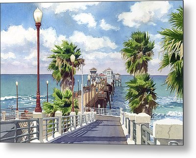 Oceanside Pier Metal Print by Mary Helmreich
