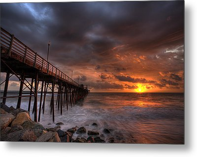 Oceanside Pier Perfect Sunset Ex-lrg Metal Print by Peter Tellone