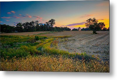 October Evening On The Farm Metal Print