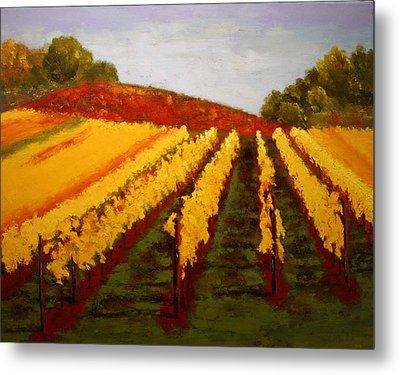 Metal Print featuring the painting October Vineyard by Nancy Jolley