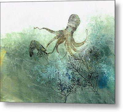 Octopus And Shrimp Metal Print by Nancy Gorr
