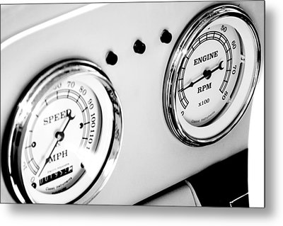 Odometer And Tachometer Of An Antique Car Metal Print by Celso Diniz