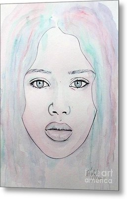 Metal Print featuring the mixed media Of Colour And Beauty - Blue by Malinda Prudhomme