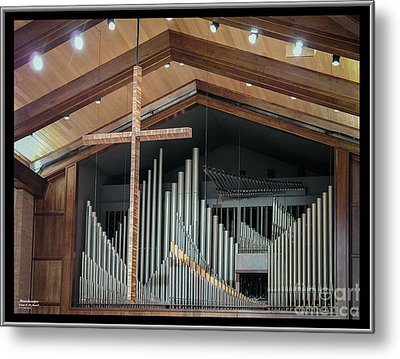 Metal Print featuring the photograph Of The Cross And Pipes by Karen Musick